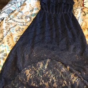 Full length lace dress with half cut in front